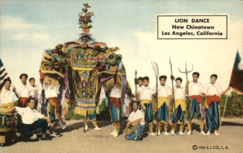 LA Chinatown.martial arts school and lion dance.1952