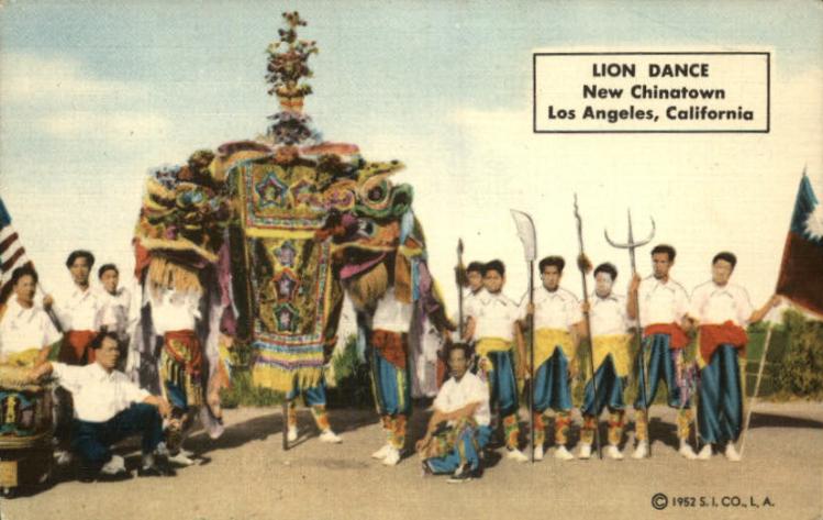 LA Chinatown.martial arts school and lion dance.1952