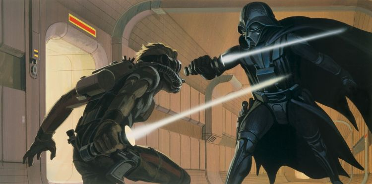 Concept art showing an early version of the lightsaber.