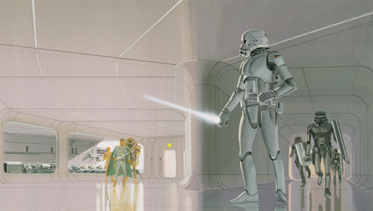 Early concept art by Ralph McQuarrie showing a Storm Trooper holding a lightsaber. In the Star Wars mythos a hero may well have to rely on the lightsaber as a means of personal defense.