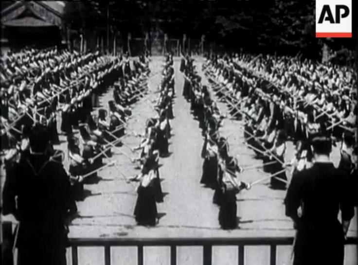 """Schoolboys """"Kendo"""" at Tokyo.  Vintage Newsreel. 1934."""