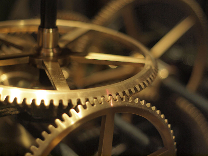 Clockwork gears at the Liverpool World Museum. Photo by Somedriftwood. Source: Wikimedia