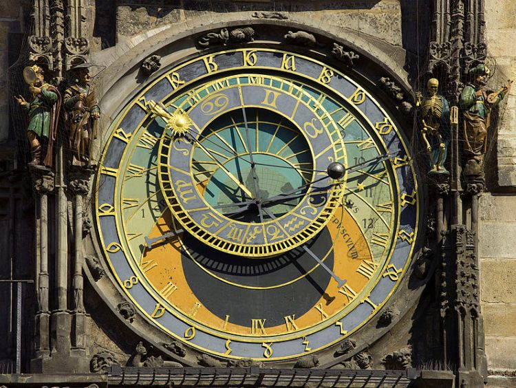 An astronomical clock in Prague. Photo by Andrew Shiva. Source: wikimedia.