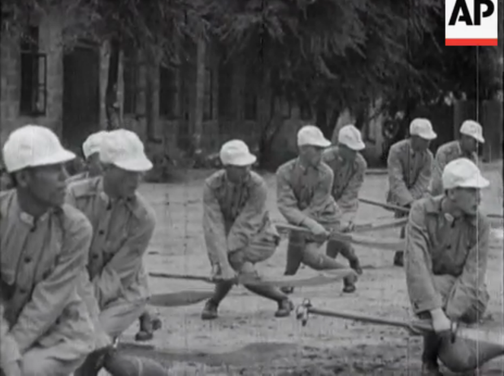 """Russo/Chinese War Scenes."" Chinese soldiers drill with Pudao. Vintage Newsreel. 1929."
