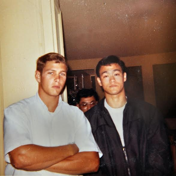 Bruce Lee with Barney Scollan during impromptu demonstrations the night before the first Long Beach International Karate Tournament in 1964. Source: Photo courtesy of Darlene Parker.