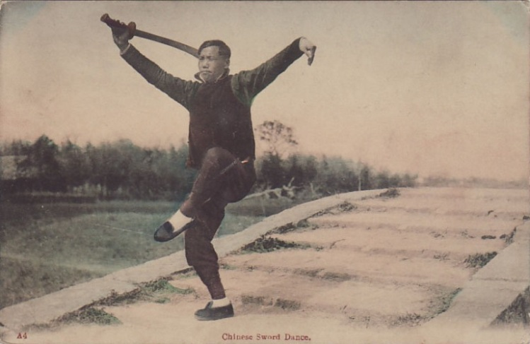 """""""China Sword Dancer."""" Vintage postcard."""