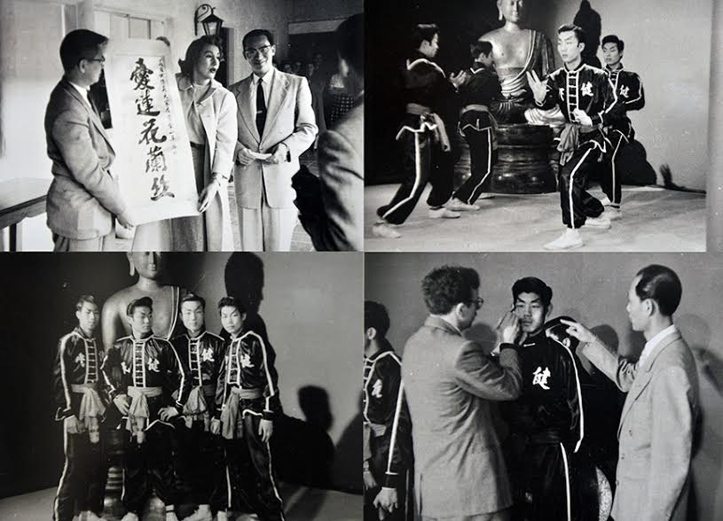 Images from TY Wong's Kin Mon school performance on NBC's Home show with Arlene Francis, top left, in 1955. Source: Photo courtesy of Gilman Wong.