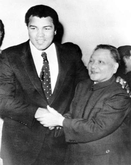 Chinese deputy Premier Deng Xiaoping and retired world champion Muhammad Ali [ alias cassius Clay] shake hands in Beijingat a meeting during which Deng invited Ali to return to China to train boxers for the 1984 Olympics, December 19, 1979. AP PHOTO