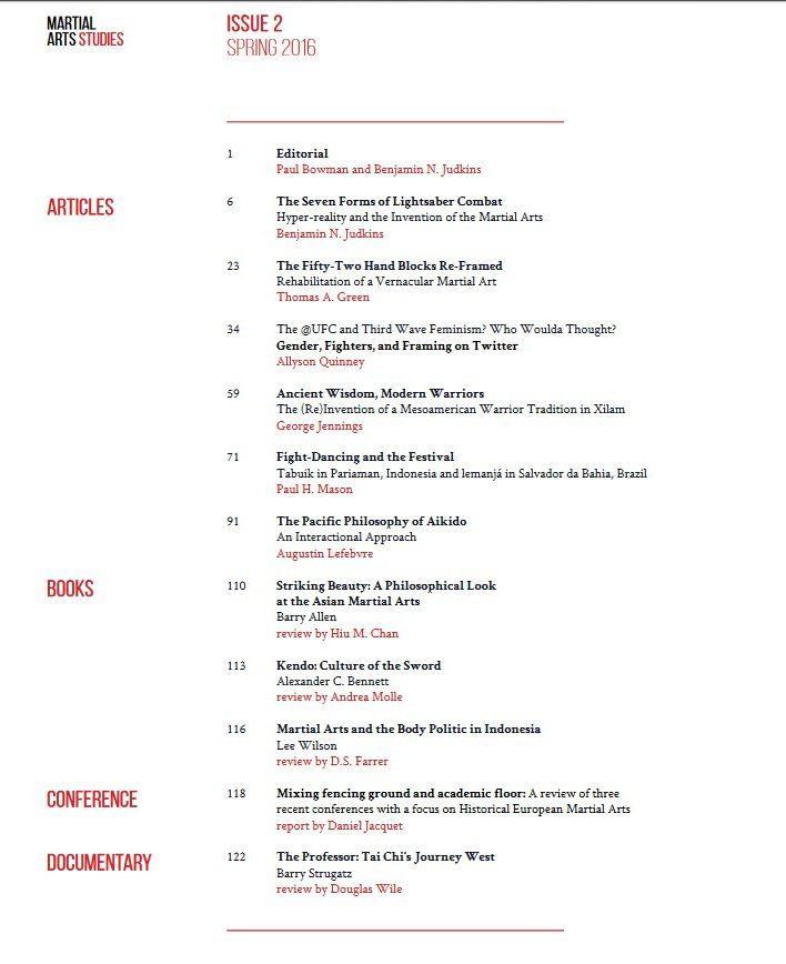 Martial Arts Studies.Issue 2.TOC
