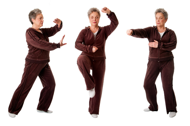 Senior woman doing Tai Chi exercise to keep her joints flexible, isolated. Source: