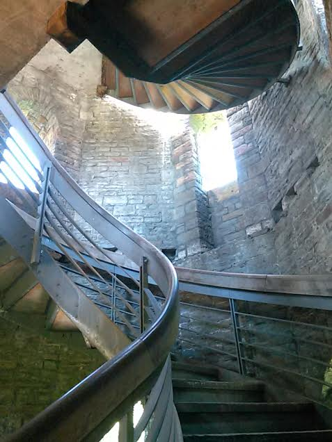 A staircase inside the wall of Cardiff Castle.  Photo by Benjamin Judkins.