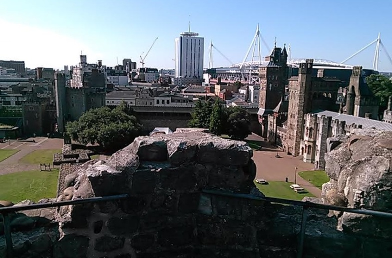 A view of downtown Cardiff from the top of the Norman Keep.  Photo by Benjamin Judkins.
