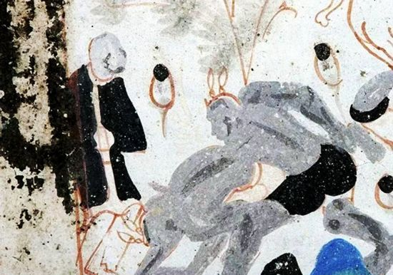 An ancient cave painting from        . Source: