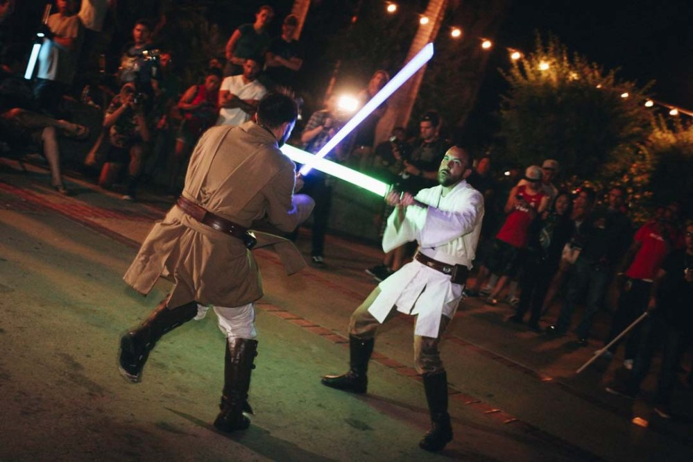 A choreographed lightsaber duel in California. Source: