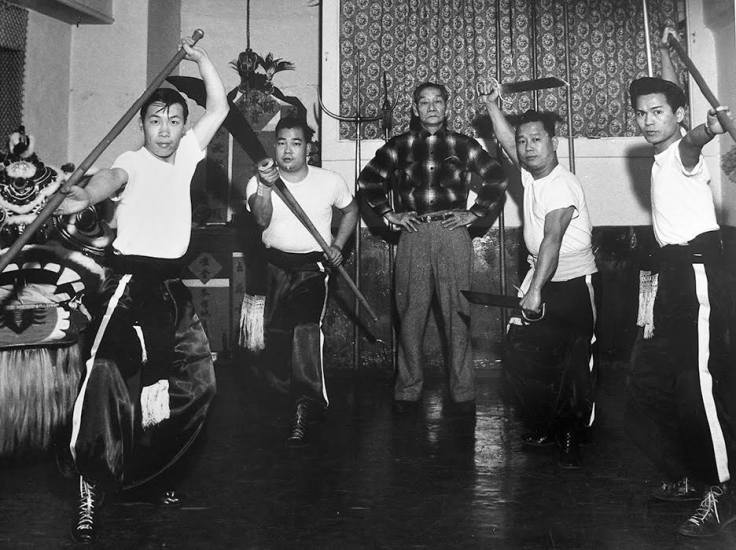 Lau Bun (top center) with senior students in his Hung Sing School of Choy Li Fut in San Francisco's Chinatown, one of the oldest martial arts schools in America. During the summer of 1959, 18-year-old Bruce Lee had a little-known run-in with Lau Bun and his senior students. (Photo courtesy of UC Berkeley)