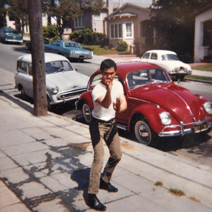 A young Bruce Lee in Oakland circa 1965, just prior to his role on the Green Hornet. Although Bruce was born in San Francisco's Chinatown, he was often at odds with members of the neighborhood's martial arts culture. Bruce instead found a more likeminded crowd across the Bay, in the city of Oakland. (Photo courtesy of Barney Scollan