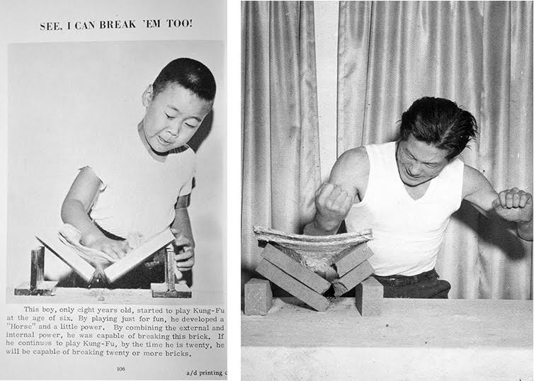 In 1962, TY Wong published an image of his 8 year-old son breaking bricks beneath a patronizing headline. It was meant to parody the Iron Palm abilities of James Lee that were featured in the their first book (right).