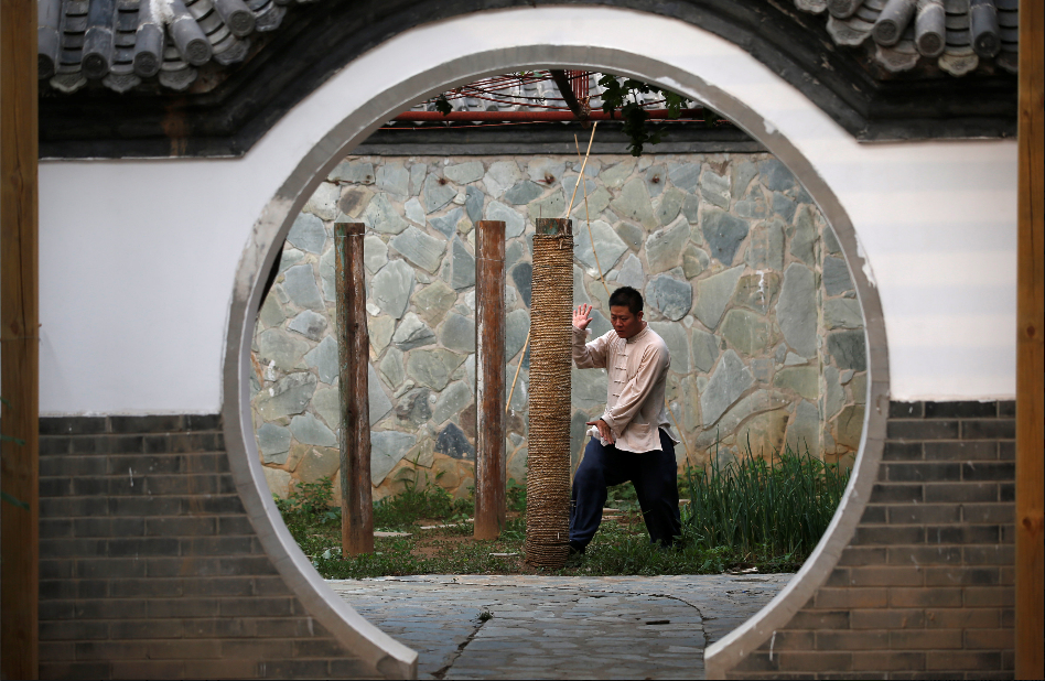 Xing Xi pracctices ar the Zen Kung Fu Center in Beijing. Source: Reuters.