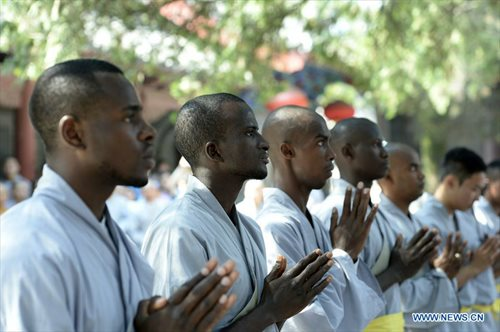 Students from Africa who recently graduated from a three month training program at the Shaolin Temple.  Source: Global Times.