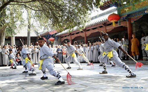 African graduates at the end of their three month program at the Shaolin Temple, Henan.