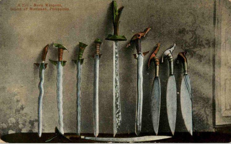 Moro weapons. Vintage Postcard.