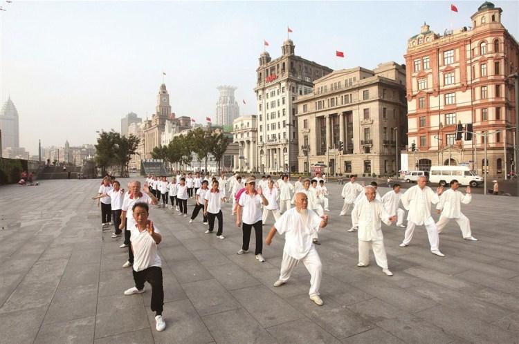 A Taijiquan class in Shanghai. Source: The Shanghai Daily.